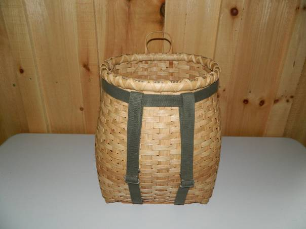 Wicker mushroom picker's backpack basket